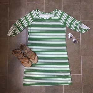 Max Studio Weekend M green and white striped dress